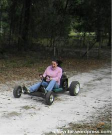 Yes, that's me on the go-kart before we moved. As you can see by the lack of glaring sun and my bulky sweater, it's a typical Florida winter.